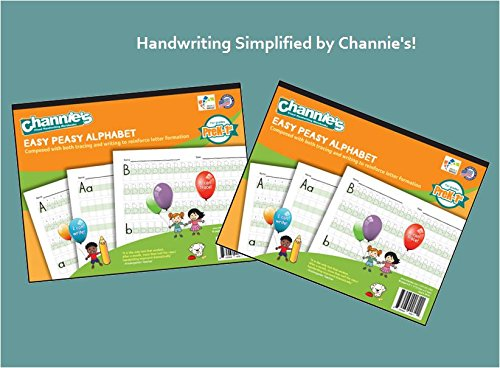 "2 Pak! Most visual worksheet for handwrting. Channie's EASY PEASY ALPHABET HANDWRITING WORKBOOK combine both tracing and writing. Super Easy to learn Alphabet. 8.5 x 11"" with hardboard Back."