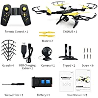 H39WH FPV Drone with LED Night Lamp, Kobwa 720P Wifi HD Live Video RC Quadcopter with Altitude Hold 2.4G 4CH 6-aixs 360° Stunt Flip - White