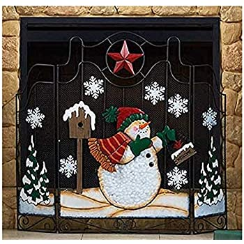 winston inc colorful metal snowman star tree holiday christmas fireplace screen