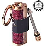 Meanhoo Vintage Red Leather Flint Oil Lighter Classic Permanent Match Key Ring outdoor & home