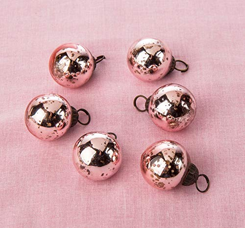 Cultural Intrigue Luna Bazaar Mini Mercury Glass Ornaments (Ava Classic Ball Design, 1-1.5 Inches, Rose Gold, Set of 6) - Vintage-Style Mercury Glass Christmas Ornaments ()