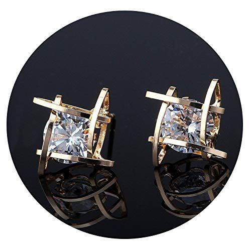 (European and American Trinkets Triangle Zircon Earrings Toe Square Zircon Stud Earrings Women Earrings Wholesale,Square Gold )