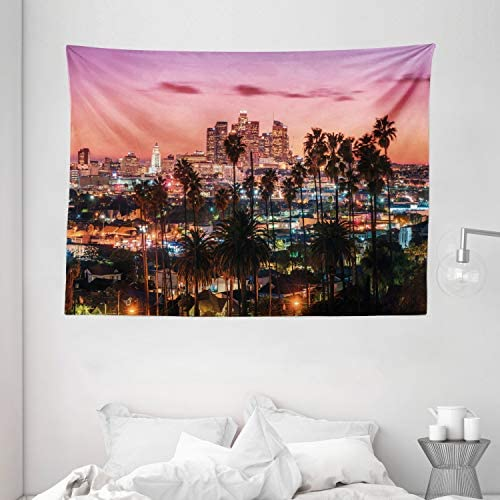 Ambesonne United States Tapestry, Vibrant Sunset Twilight Scenery Los Angeles Famous Downtown with Palm Trees, Wide Wall Hanging for Bedroom Living Room Dorm, 80 X 60 , Dried Rose