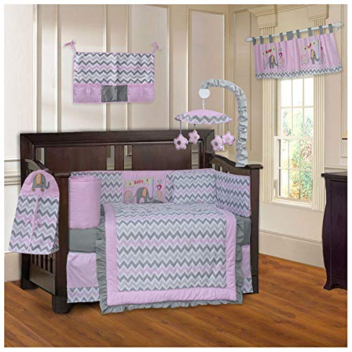 Pink Elephant Baby Bedding - BabyFad Elephant Chevron Pink 10 Piece Baby Crib Bedding Set