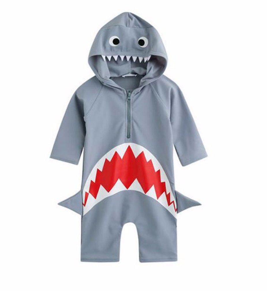 LC Boutique Little Boys One Piece Rash Guard Shark in Sizes 2T to 6T