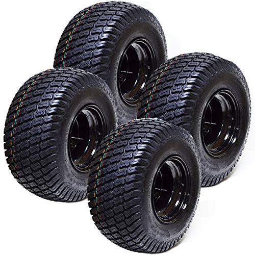 "Set of 4 18x8.50x8 ATV Golf Go Cart Lawn Mower Tractor P322 Turf Tire Rim Assembly EZGO Club Car Yamaha E-Z-GO Golf Cart Black Steel Wheels 18"" All Terrain Tires"