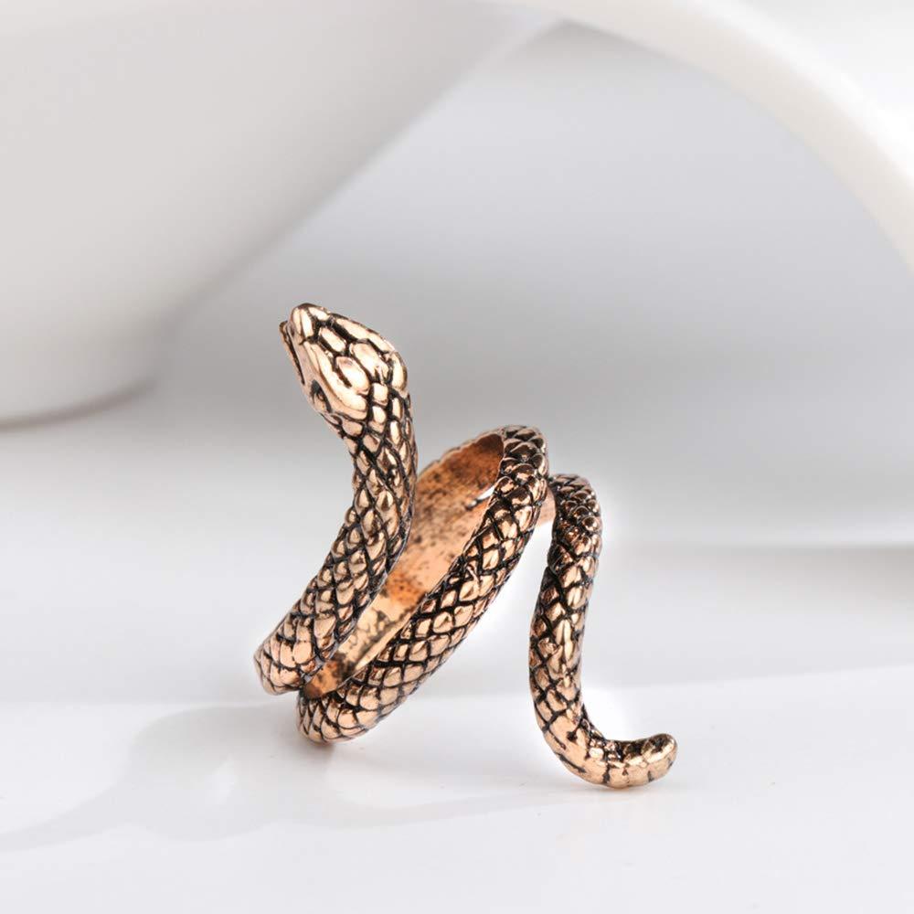 FEDBNET Anillo de serpiente en espiral ajustable estilo g/ótico punk unisex retro joyer/ía regalo 7 dorado