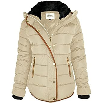 Fashion Thirsty WOMENS LADIES QUILTED WINTER COAT PUFFER FUR COLLAR HOODED JACKET  PARKA SIZE (UK a312b9e603