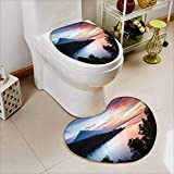 Non Slip Bath Shower Heart shaped foot pad Calm lagoon with mountains on the background at sunset Bali,Indonesia 2 Pieces Microfiber Soft