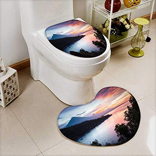Non Slip Bath Shower Heart shaped foot pad Calm lagoon with mountains on the background at sunset Bali,Indonesia 2 Pieces Microfiber Soft by Analisahome