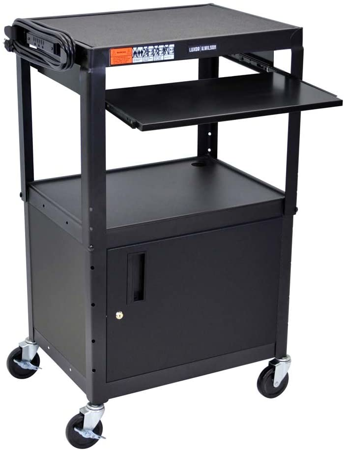 LUXOR AVJ42KBC Adjustable Steel A/V Cart - Cabinet with Pullout Trays
