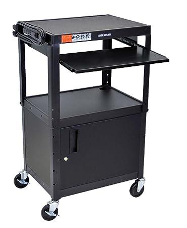 Amazon.com : LUXOR AVJ42KBC Adjustable Steel A/V Cart - Cabinet ...