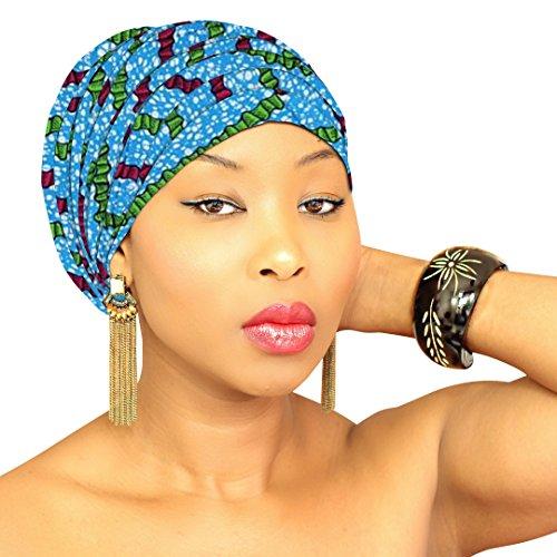 DESIGN 86 Blue Green Head Wrap   100% Cotton HEAD SCARF   Royal Head Wraps]()