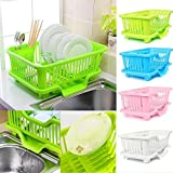 Sonani 3 in 1 Large Sink Set Dish Rack Drainer with Tray for Kitchen, Dish Rack Organizers (Green)