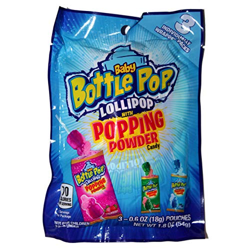 Baby Bottle Pop (1) 3pc Bag Lollipop With Popping Powder Candy - Strawberry, Watermelon & Blue Raspberry Flavors - 1.8 oz