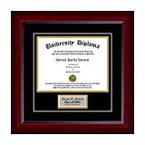 Personalized Single Diploma Frame with Double Matting for 8.5'' x 11'' Tall Diploma with Mahogany 1 5/8'' Frame