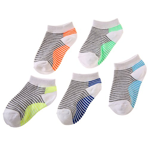 Eocom 5 Pack Kids Boy Striped Low Cut Cotton Soft Cute Breathable Socks (White, 6-9 Years) by Eocom (Image #4)