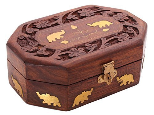 Store Indya Cyber Monday Decorative Handmade Wooden Box Jewelry Trinket Holder Organizer Keepsake Storage Box Elephant Brass Inlay ()