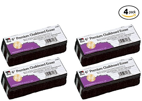 Charles Leonard Chl74586 Premium Chalkboard Eraser Set - 4 pack Bundle (Economy Whiteboard Eraser)