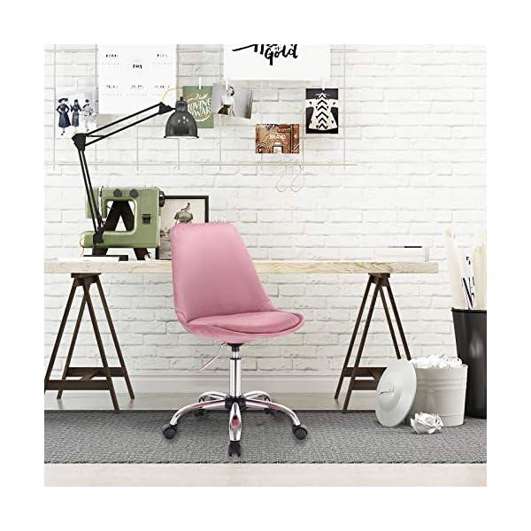 WOLTU BS60rs Tabouret à roulettes Chaise de Bureau en Velours Tabouret de Bureau pivotant 360° réglable en Hauteur,Rose