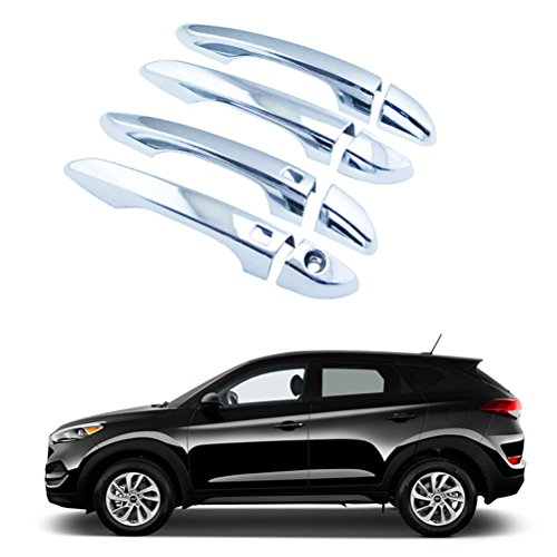 - NINTE Door Handle Cover for 2016-2018 Hyundai Tucson | ABS Chrome WITH 2 Smart Keyholes