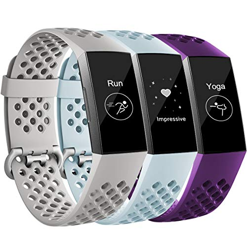 (Maledan Replacement Bands Compatible with Fitbit Charge 3, Breathable Sport Band Wristbands with Air Holes for Charge 3 and Charge 3 SE, Grey/Plum/Aqua, Small)