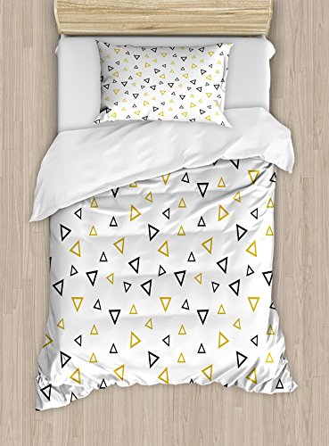 Gold and White Duvet Cover Set by Ambesonne, Memphis Triangl