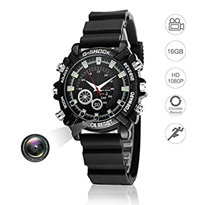 Hidden Watch Video Camera 16GB DVR Multifunctional Smart Wrist Waterproof Watch IR Night Vision with Cameras for Home Outdoor Loop Recorder HD 1080P by Yakalla