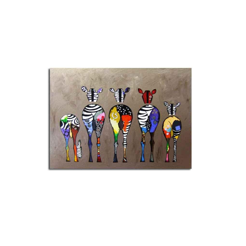 Babysbreath17 Huile abstraite Cartoon zèbre peinture colorée mur décoratif en toile Photos Art Non Encadré Huile Dessin Affiches