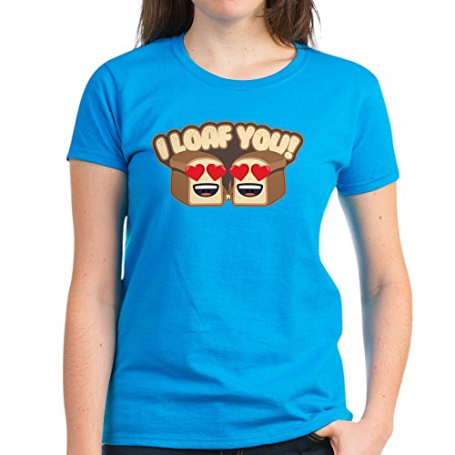 - CafePress Emoji I Loaf You Women's Classic T Shirt Womens Cotton T-Shirt Caribbean Blue