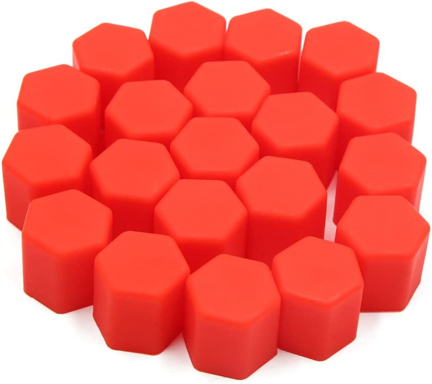 uxcell 20pcs 15mm Rubber Car Wheel Tire Tyre Nut Screw Cover Caps Hub Protector Red