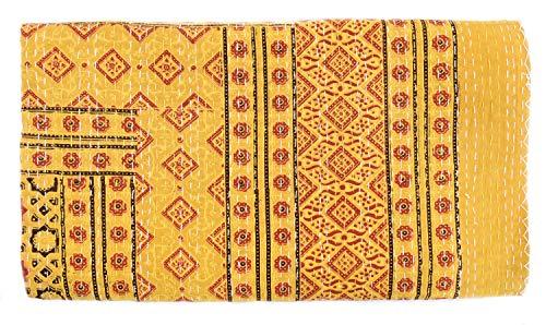 Sophia Art Indian King Size Traditional Home Deco Kantha Ajrakh Quilt, Handmade Kantha Print Ajrakh Throw Blanket (Suzani Quilt)