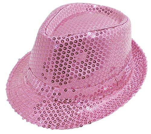 Funkeet Adult Sequin Fedora Hat Kid Dance Cap Solid Jazz Hat Party Glitter Costum (L - Adult, Pink) ()