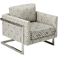 Coaster Home Furnishings 902786 Coaster Modern Geometric Patterned Grey Fabric Upholstered Accent Chair with Floating Back, Birch/Brushed Chrome