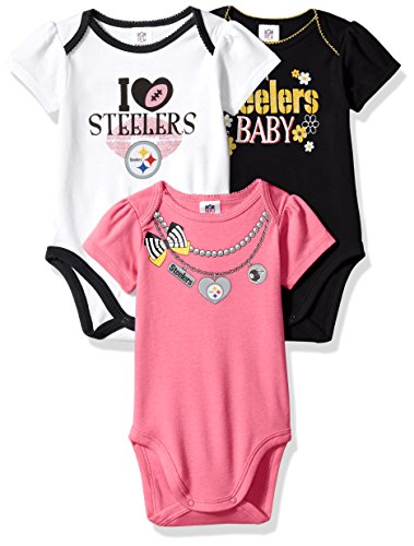 NFL Pittsburgh Steelers Girls Short Sleeve Bodysuit (3 Pack), 0-3 Months, Pink