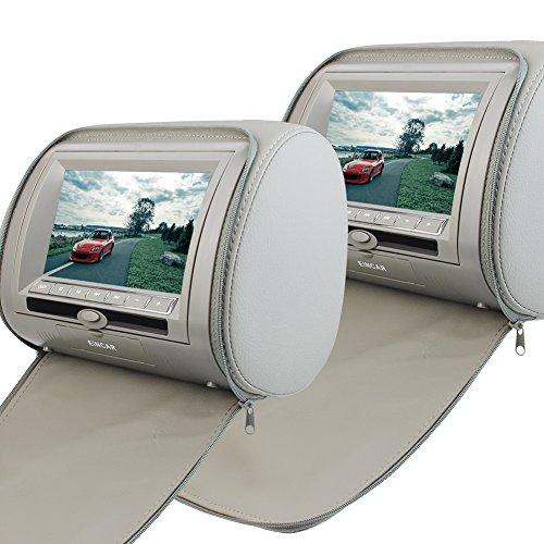 Pair 7' Headrest (EinCar 2 PCS Pair of Headrest 7'' LCD Car Pillow Monitor DVD Player Dual Twin Screen USB SD IR FM Transmitter 32 Bit Games--Gray Grey Color)