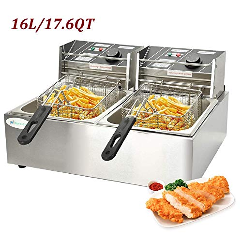 Nurxiovo 16 Liter Electric Commercial Deep Fryer with Double Basket Large Countertop Stainless Steel 2 Baskets Deep Fryers French Fries Fish Turkey Restaurant Home Kitchen 2 Tank 17.6 Quart