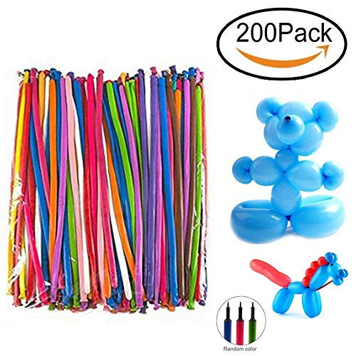 Maikerry Balloon Animals Kit Twisting Balloons with Pump Pack of 200 Long Balloons for Party Birthday Decoration ()