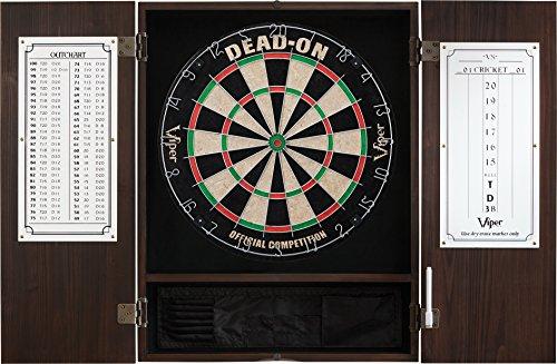 Viper Metropolitan Solid Wood Cabinet & Sisal/Bristle Dartboard Ready-to-Play Bundle: Deluxe Set (Dead On Dartboard and Darts), Espresso Finish