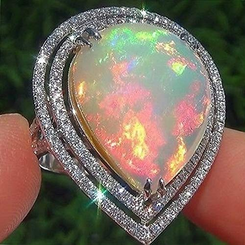 - Crookston Fashion Women Man Moonstone Fire Opal 925 Silver Ring Jewelry Wedding Size 6-10 | Model RNG - 15968 | 10