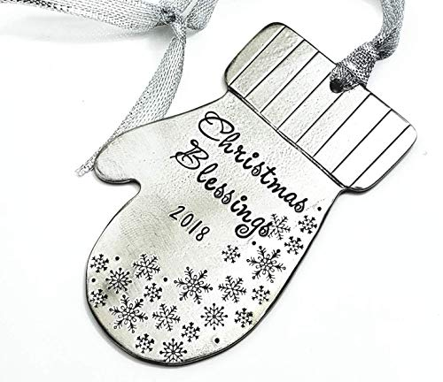 Personalized Pewter Christmas Ornament, Hand Stamped Mitten with snowflakes, Christmas Blessings