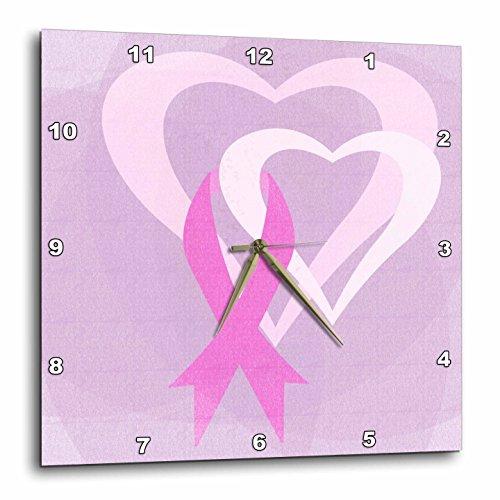 3dRose DPP_79099_2 Pink Ribbon Hearts- Breast Cancer Awareness- Inspirational Art Wall Clock, 13 by 13