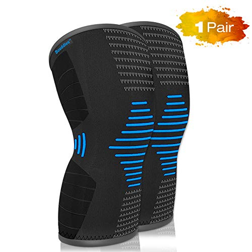 Scuddles Knee Compression Sleeve - Knee Brace for Women Men - Knee Protector for Meniscus Tear 2 Pack ACL MCL PCL Joint Pain - Knee Support for Crossfit Weightlifting Powerlifting (Small Blue) ()