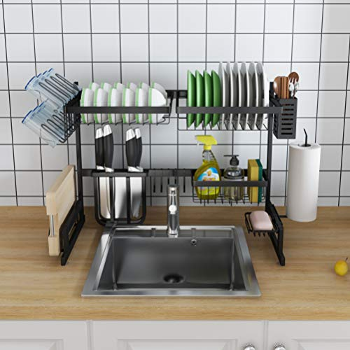 Skywin Kitchen Dish Rack Over Sink – 2 Tier Dish Rack for Counter Over the Sink Dish Rack – Stainless Steel Dish Rack (Small Dish Rack – Black 25 inch)