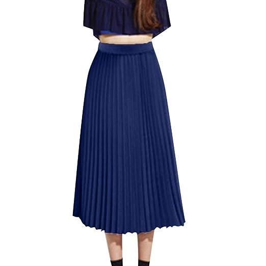 5533b140012985 Lavany Women Elegant Chiffon High Waisted Pleated Midi Skirt Elastic Waist  Skirts at Amazon Women's Clothing store: