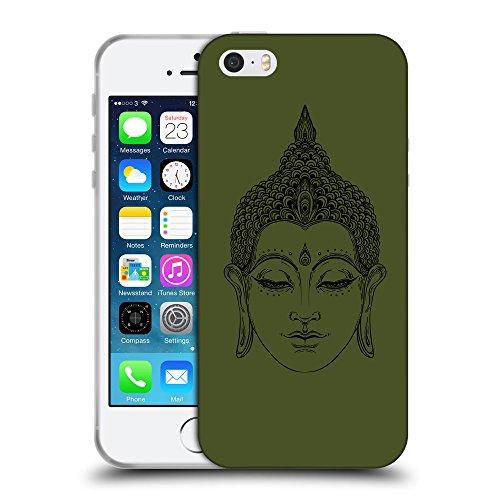 GoGoMobile Coque de Protection TPU Silicone Case pour // Q07700605 Bouddha 6 armée verte // Apple iPhone 5 5S 5G SE