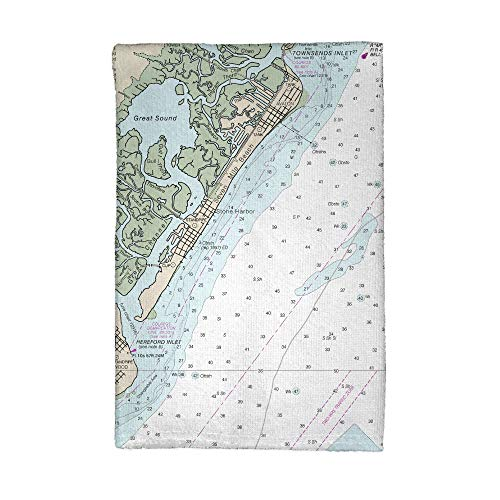 - Betsy Drake Little Egg Inlet to Hereford Inlet - Avalon, NH Nautical Map Kitchen Towel