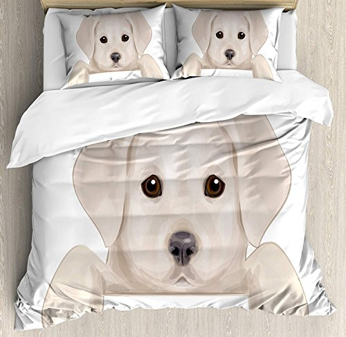 ce Duvet Cover Set Bedspread, Cute Puppy Hiding with its Little Adorable Paws Labrador Dog Illustration, 4pcs Bedding Set for Kids/Childrens/Adults Decor, Tan Brwon Dark Taupe ()