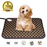 Pet Heating Pad Warming Bed - Auto Power Off Cat & Dog Electric Heated Mat with UL and Chew Resistant Steel Cord (18' x 18')
