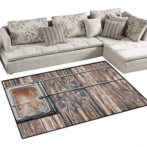 (Rustic Floor Mat for Kids Nautical Wooden Tree Planks with Old Little Rusty Boat Marine Life Door Print Bath Mat Non Slip 3'x5' Brown and Grey)